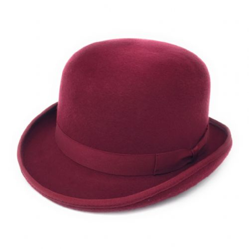 Wine Bowler Hat - Wool Felt